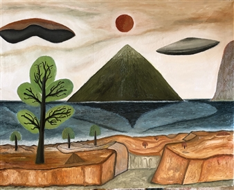 Merab Kardava - Distant Planet and UFO Oil on Canvas, Paintings