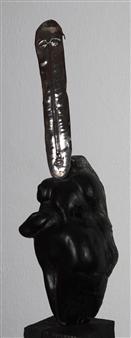 Venceslao Mascia - Dea Madre (Mystery of Life) Obsidian and Silver, Sculpture
