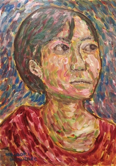Masaoki Mitsutake - A Woman Above Her Chest No.3 Oil on Canvas, Paintings