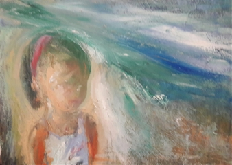 Fiz Dominguez - Thinking About the Sea Oil on Canvas, Paintings