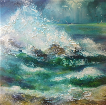 Caroline Degroiselle - Burst of Happiness Waves Acrylic on Canvas, Paintings