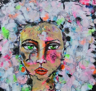Diana Linsse - Neon Diva Mixed Media on Canvas, Mixed Media