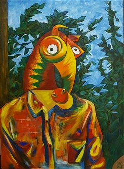 Seo - Self-portrait Wearing a Horse Mask Oil on Canvas, Paintings