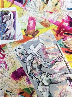 Michael Dolen - Two Travelers Mixed Media on Paper, Mixed Media