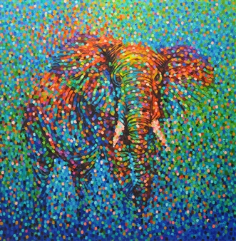 Francis Annan Affotey - Polychromatic Elephant (framed work) Acrylic on Canvas, Paintings
