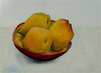 Jorge Garcia-Sainz - Peaches Oil on Paper, Paintings
