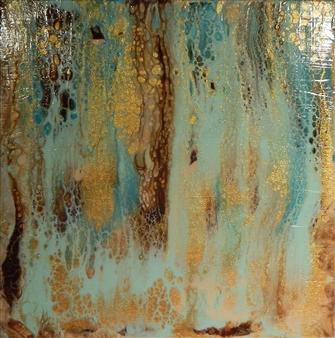 Patti Hodder - Turquoise Canyon Acrylic on Wood, Paintings