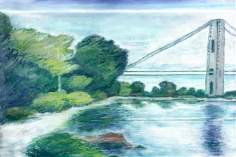Michael Victor ▪ MVR - George Washington Bridge Pier in White Sky Riverscape Hard Pastels with Multi-media, Prints