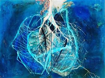 Grażyna Aneta Ochowiak - Blue Blood, diptych Acrylic & Mixed Media on Canvas, Mixed Media