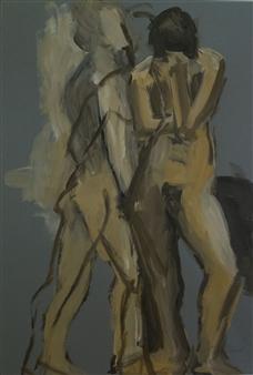 Jutta Ebeling-Dehnhard - Three Male Nudes Acrylic on Carton Board, Paintings