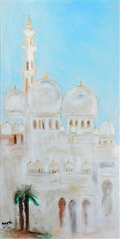 Amani Elbayoumi - White Dome Oil & Acrylic on Canvas, Paintings