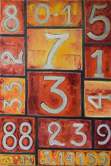 Dan Aug - Numerologic Construction Oil on Canvas, Paintings