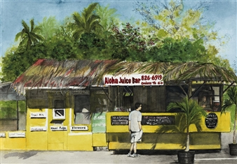 Nancy Holleran - Aloha Juice Bar Watercolor on Paper, Paintings