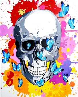 Peter Martin - Skull and Butterflies Acrylic on Canvas, Paintings