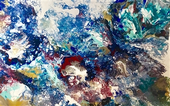 Deborah Helms - A Burst of Color Acrylic on Canvas, Paintings
