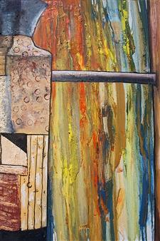 Di - Vase Near Rain Stained Window Oil & Acrylic on Canvas, Paintings
