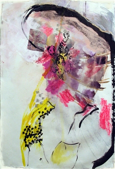 Riedstra Visual Artist - Zapp Notes VI Ink, Soft Pastel, & Gouache on Khadi Paper, Mixed Media