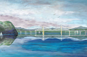 Michael Victor ▪ MVR - Hudson Palisades & New  Tappan Zee Bridge Part 1 Mixed Media Digital Print, Mixed Media