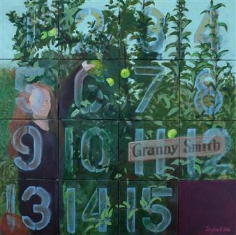 Martin Randall Joyce - Fifteen Puzzle: Granny Smith Acrylic on Canvas, Paintings
