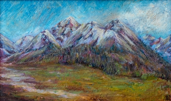 Aigerim Bektayeva - Mountains Oil on Canvas, Paintings