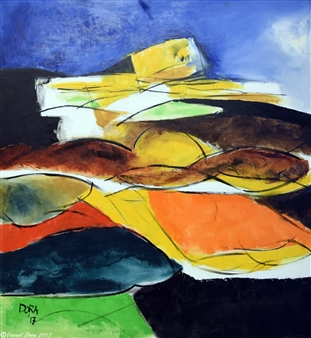 Vasant Dora - Deconstructed Form-1 Oil on Canvas, Paintings