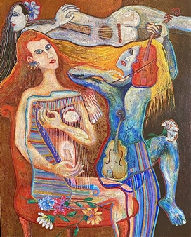 Hector Anchundia - Concertista Acrylic on Canvas, Paintings