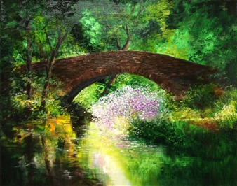 Lizzy Forrester - Cotswolds Old Stone Bridge Oil on Canvas, Paintings