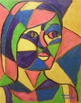 Masaoki Mitsutake - Divided Woman Face No.2 Oil on Canvas, Paintings
