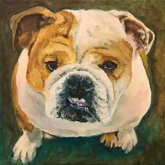Jonathan Mann - Stella, Herman's Bulldog Acrylic on Canvas, Paintings