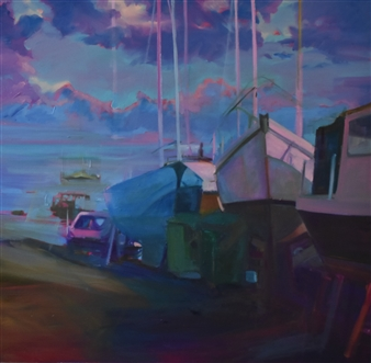 Julia Rowlands - Leigh on Sea Boatyard Oil on Canvas, Paintings