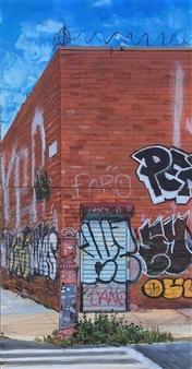 """Daniel Loveridge - Williamsburg Brooklyn, """"Overgrowth"""" Acrylic on Wood Panel, Paintings"""