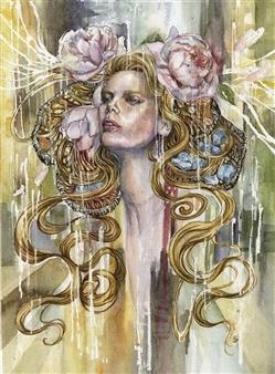 Yuki Goodman - Peonies Watercolor & Ink on Paper, Paintings