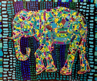 Salome Chelidze - Colorful Elephant Oil & Acrylic on Canvas, Paintings