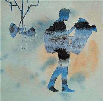 vgvenu - Transit - 49 Watercolor & Ink on Paper, Paintings
