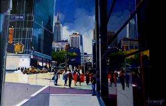 Josep Francés Anaya - Reflejos de Manhattan Oil on Canvas, Paintings