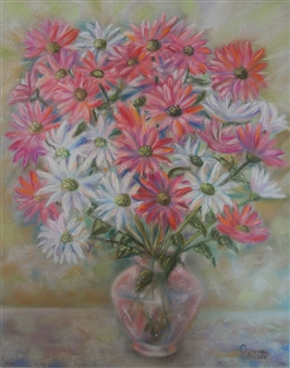 Ognyan Kostov Kolev - Daisies Pastel-Chalk on Special French Paper, Paintings