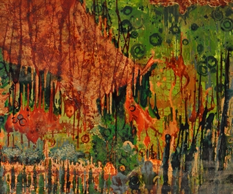 Crazy Rah Art aka Sarah Stott - Parched Oasis Mixed Media on Canvas, Mixed Media
