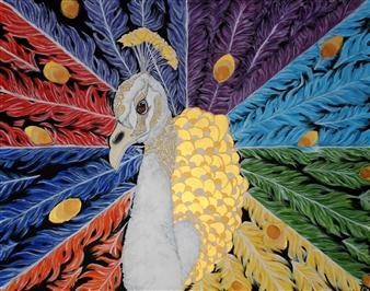 David Pallua - Peacock Acrylic & Vinyl on Canvas, Paintings