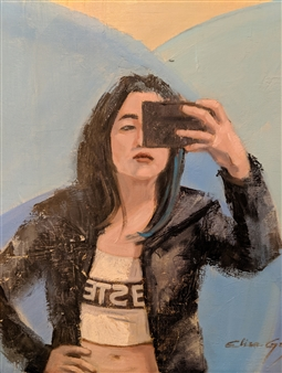 Elisa Grion - Selfie Oil on Canvas, Paintings