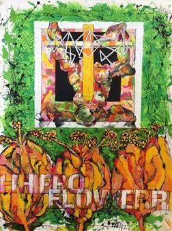 Michael Dolen - Hero/Flower 678A Mixed Media on Paper, Mixed Media