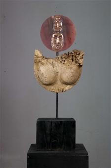 Venceslao Mascia - Dea Madre (Mother God) Sardinian Travertine and Copper, Sculpture