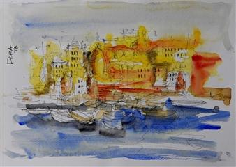 Vasant Dora - Benares River Ghats 3 Watercolor & Ink on Paper, Paintings