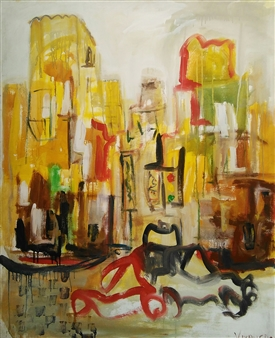Ricardo Vivanco - Urban Life Mixed Media on Canvas, Mixed Media
