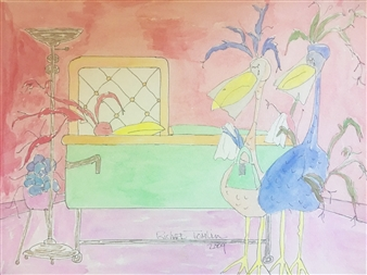 Richard Tomlin - Moira & Mildred Cry for Loss of Marsha's Sister Watercolor on Paper, Paintings