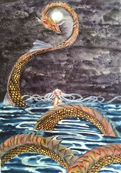 Xiao daCunha - Amidst the Sea Watercolor on Paper, Paintings