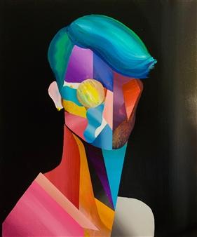 Kazusa Matsuyama - -Anonymous Portrait 01- Acrylic on Canvas, Paintings