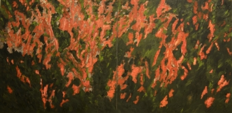 Caspar Baum - Orchid Garden Oil on Canvas, Paintings