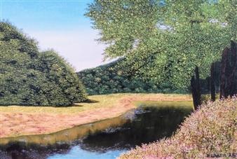 Hezekiah Baker Jr. - Glass Lake Acrylic & Oil on Board, Paintings