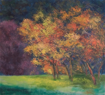 Margaret Adams - Maples in Flame Oil on Canvas, Paintings