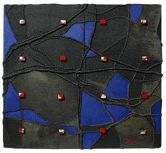 Heesu Choi - The Ceation-A Acrylic on Sewing Jute, Mixed Media